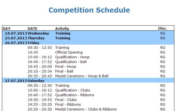 RG schedule-World Games 2013 Cali