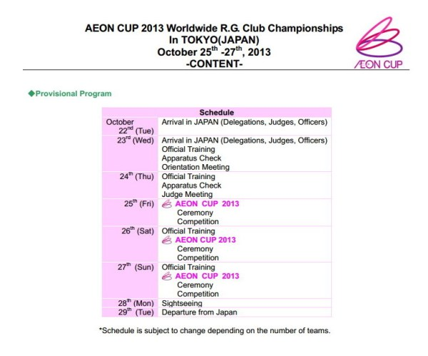 schedule Aeon Cup 2013